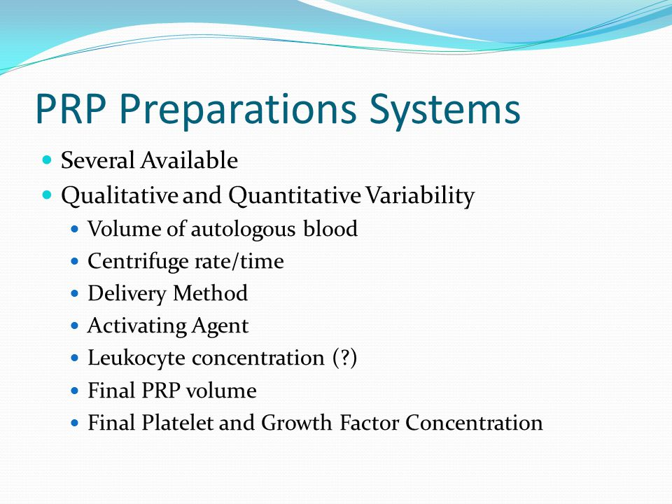 PRP Preparations Systems