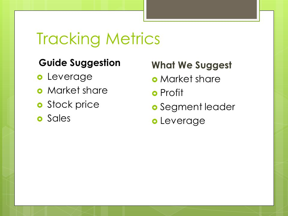 Tracking Metrics Guide Suggestion What We Suggest Leverage