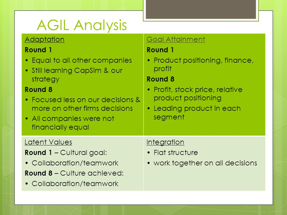 AGIL Analysis Adaptation Round 1 Equal to all other companies