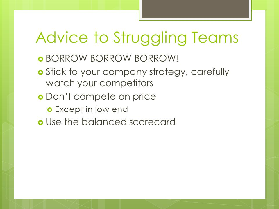 Advice to Struggling Teams