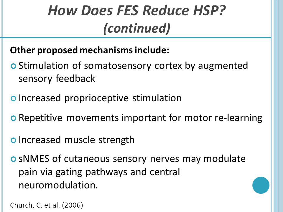 How Does FES Reduce HSP (continued)