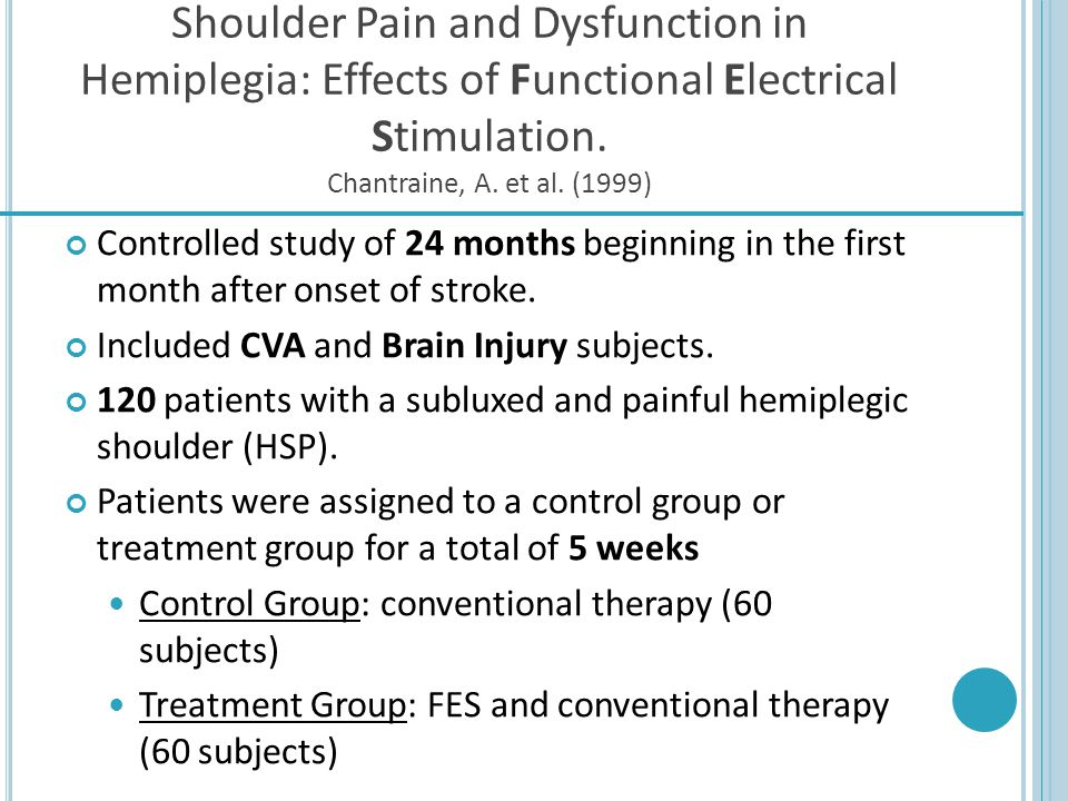 Shoulder Pain and Dysfunction in Hemiplegia: Effects of Functional Electrical Stimulation. Chantraine, A. et al. (1999)
