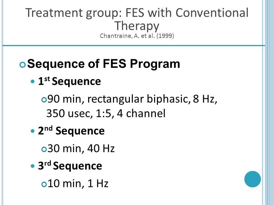 Sequence of FES Program 1st Sequence
