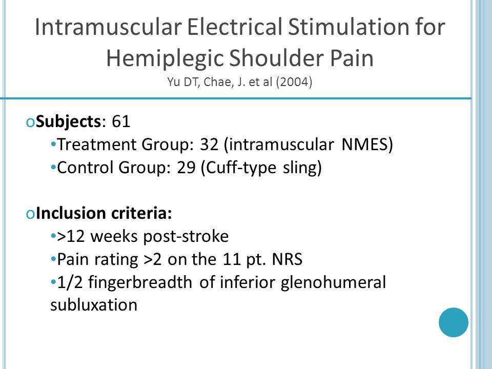 Intramuscular Electrical Stimulation for Hemiplegic Shoulder Pain