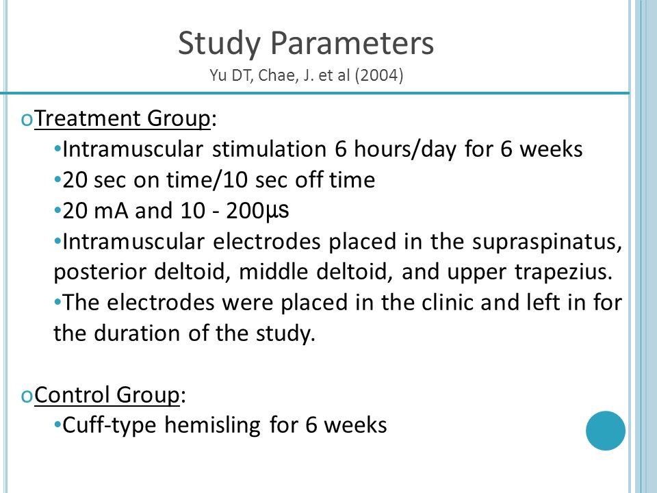Study Parameters Treatment Group: