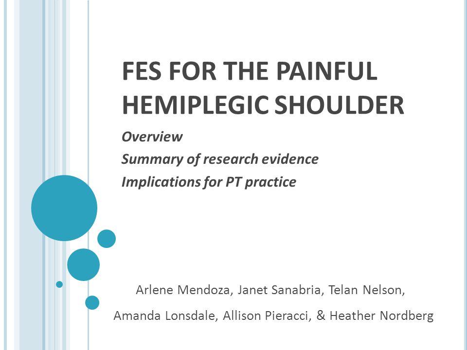 FES FOR THE PAINFUL HEMIPLEGIC SHOULDER