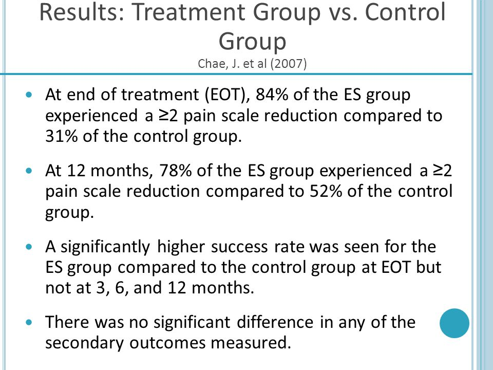 Results: Treatment Group vs. Control Group Chae, J. et al (2007)