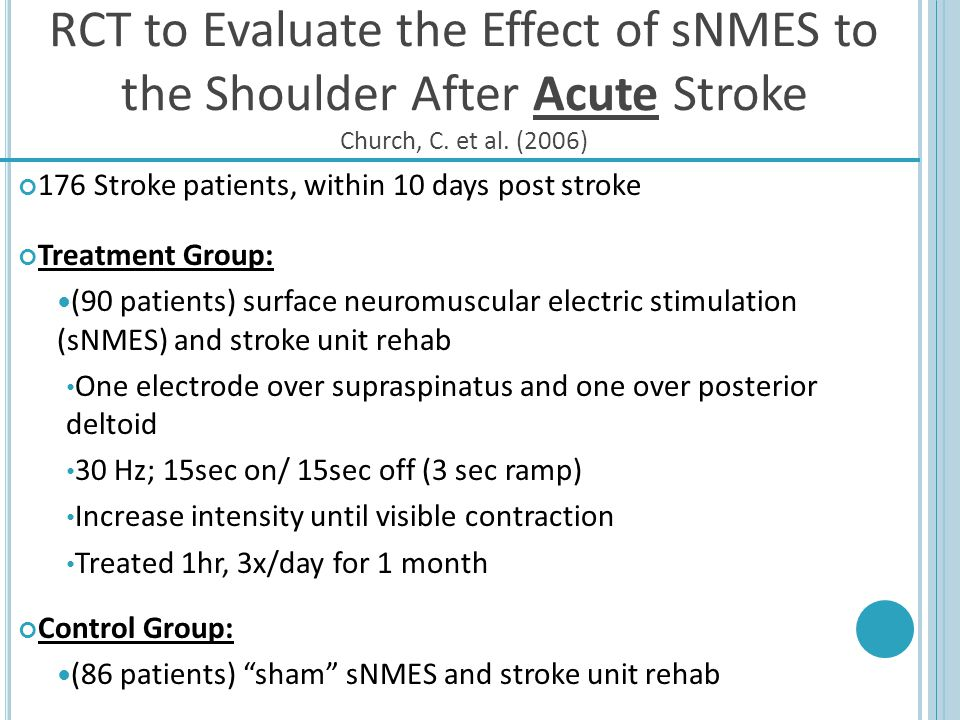 RCT to Evaluate the Effect of sNMES to the Shoulder After Acute Stroke Church, C. et al. (2006)