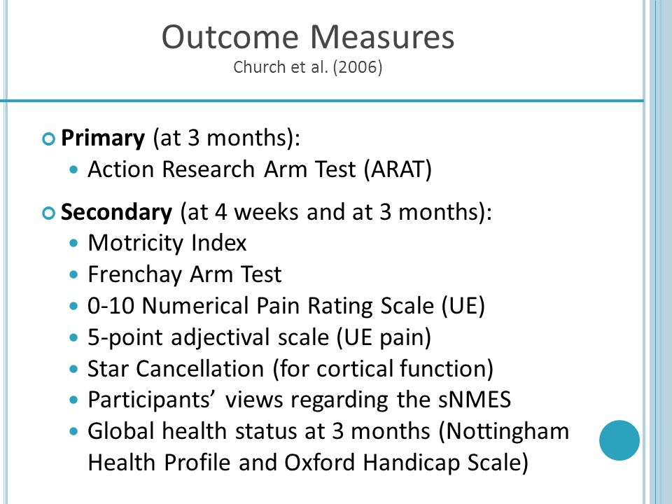 Outcome Measures Church et al. (2006)