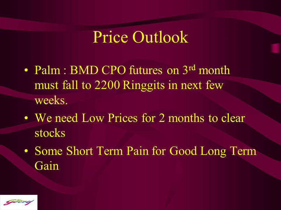 Price Outlook Palm : BMD CPO futures on 3rd month must fall to 2200 Ringgits in next few weeks. We need Low Prices for 2 months to clear stocks.