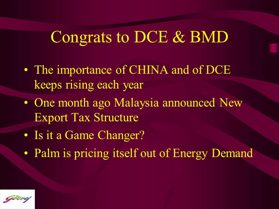 Congrats to DCE & BMD The importance of CHINA and of DCE keeps rising each year. One month ago Malaysia announced New Export Tax Structure.