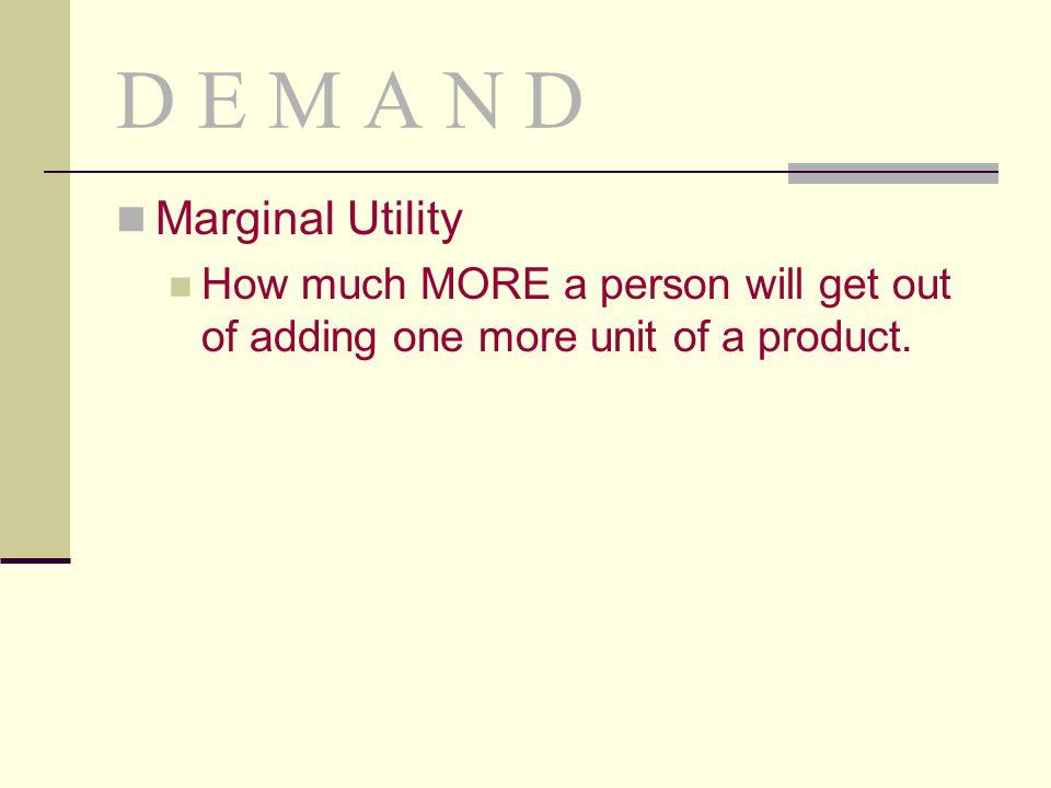 D E M A N D Marginal Utility