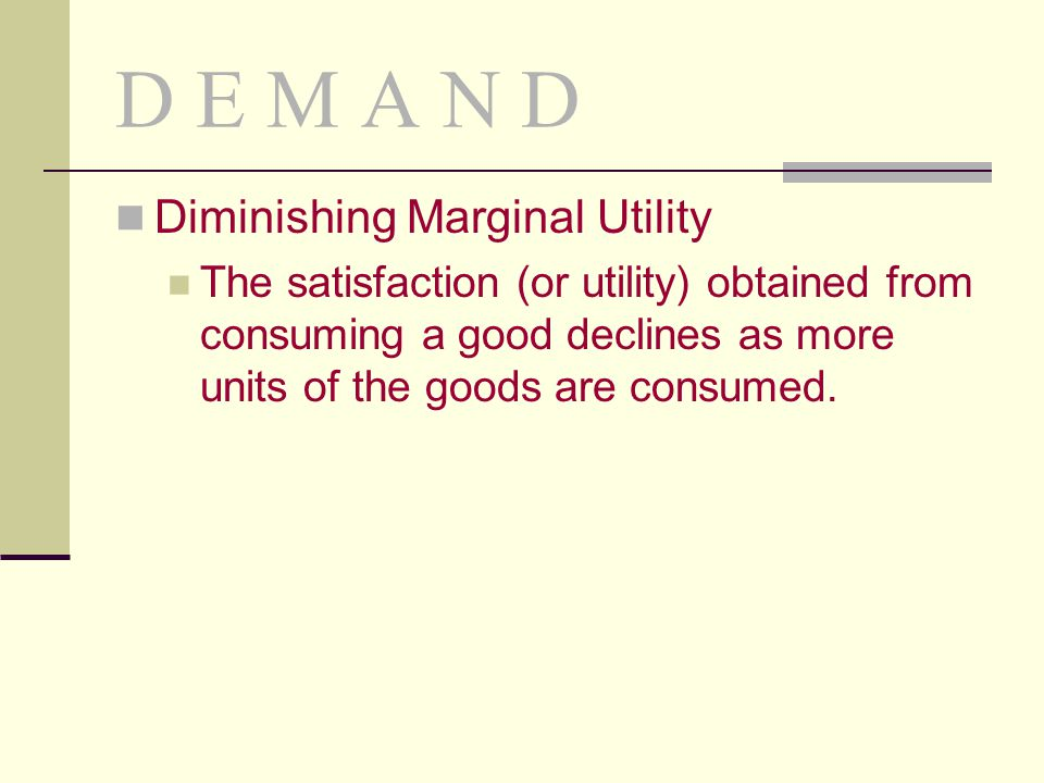 D E M A N D Diminishing Marginal Utility