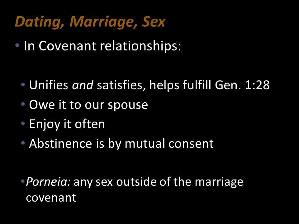 Dating, Marriage, Sex In Covenant relationships: