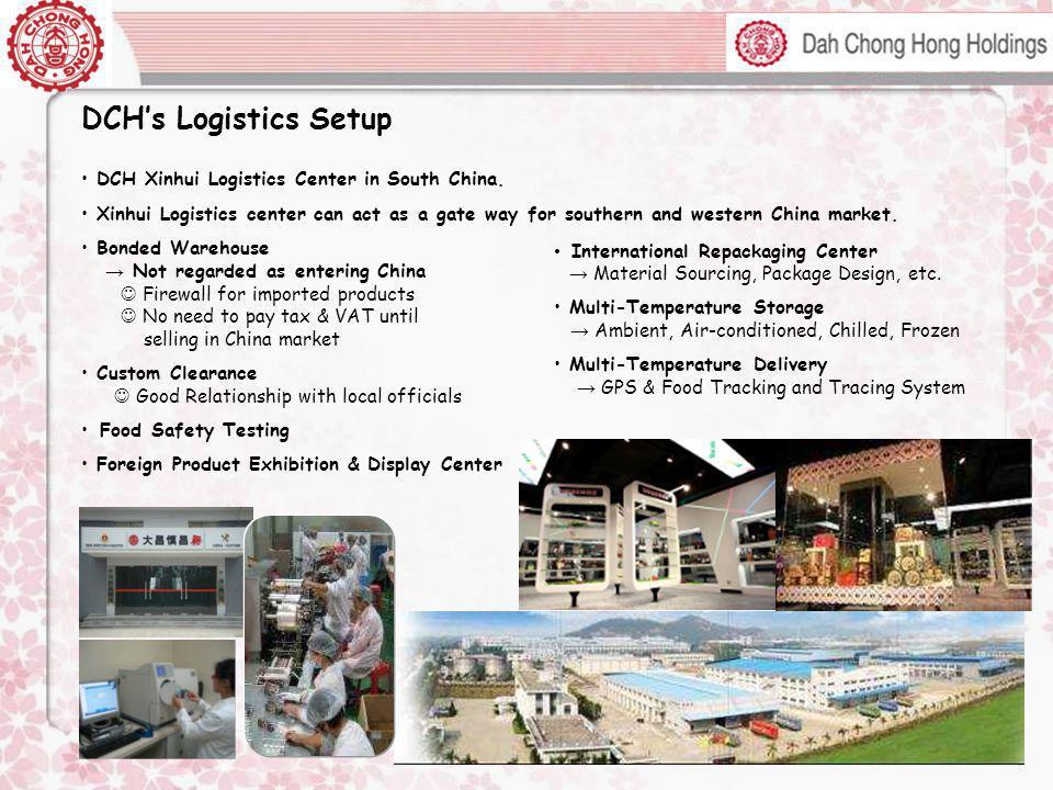 DCH's Logistics Setup DCH Xinhui Logistics Center in South China.