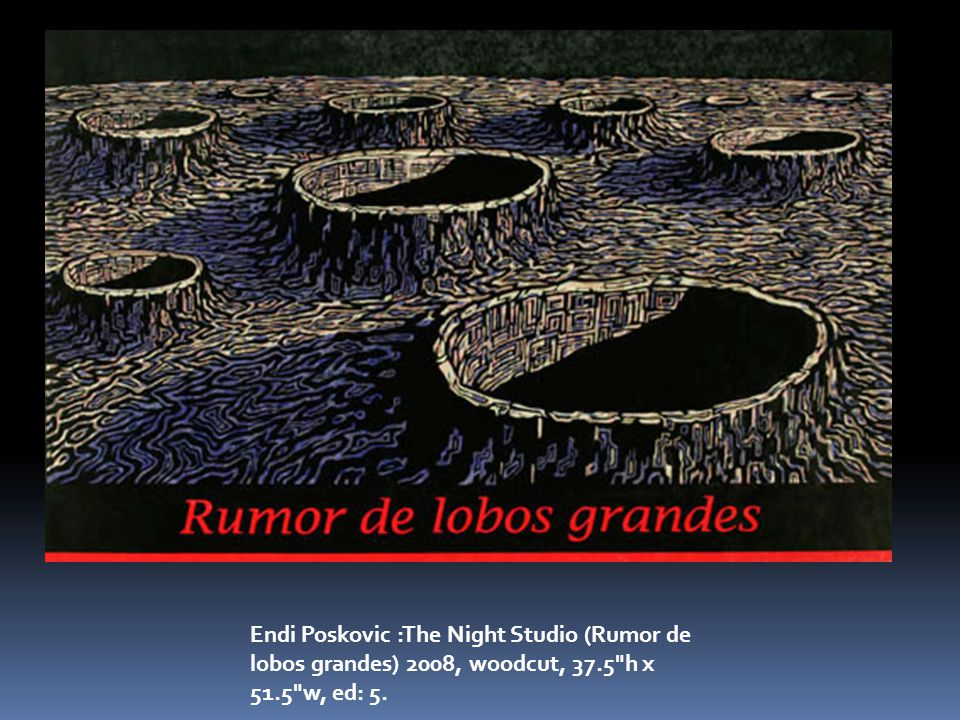 Endi Poskovic :The Night Studio (Rumor de lobos grandes) 2008, woodcut, 37.5 h x 51.5 w, ed: 5.
