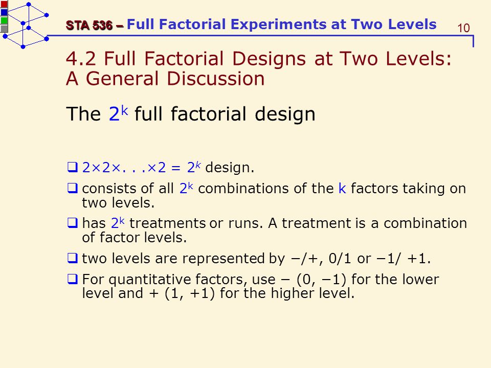 4.2 Full Factorial Designs at Two Levels: A General Discussion
