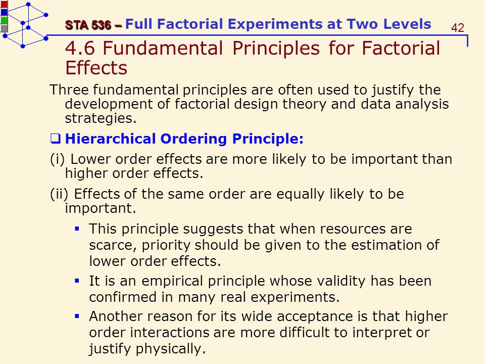 4.6 Fundamental Principles for Factorial Effects