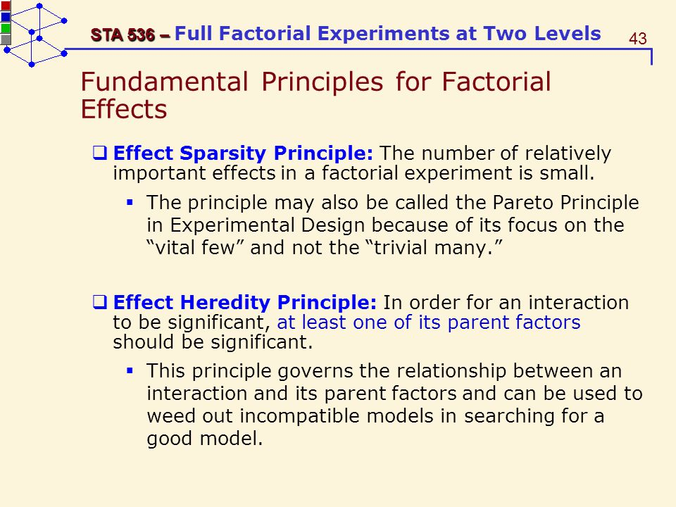 Fundamental Principles for Factorial Effects