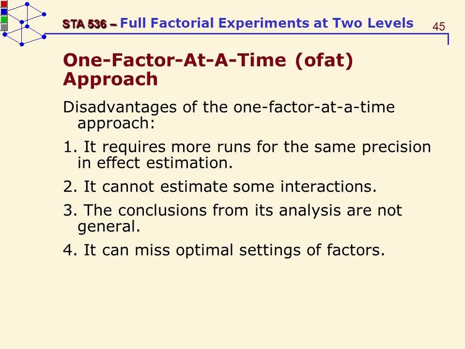 One-Factor-At-A-Time (ofat) Approach