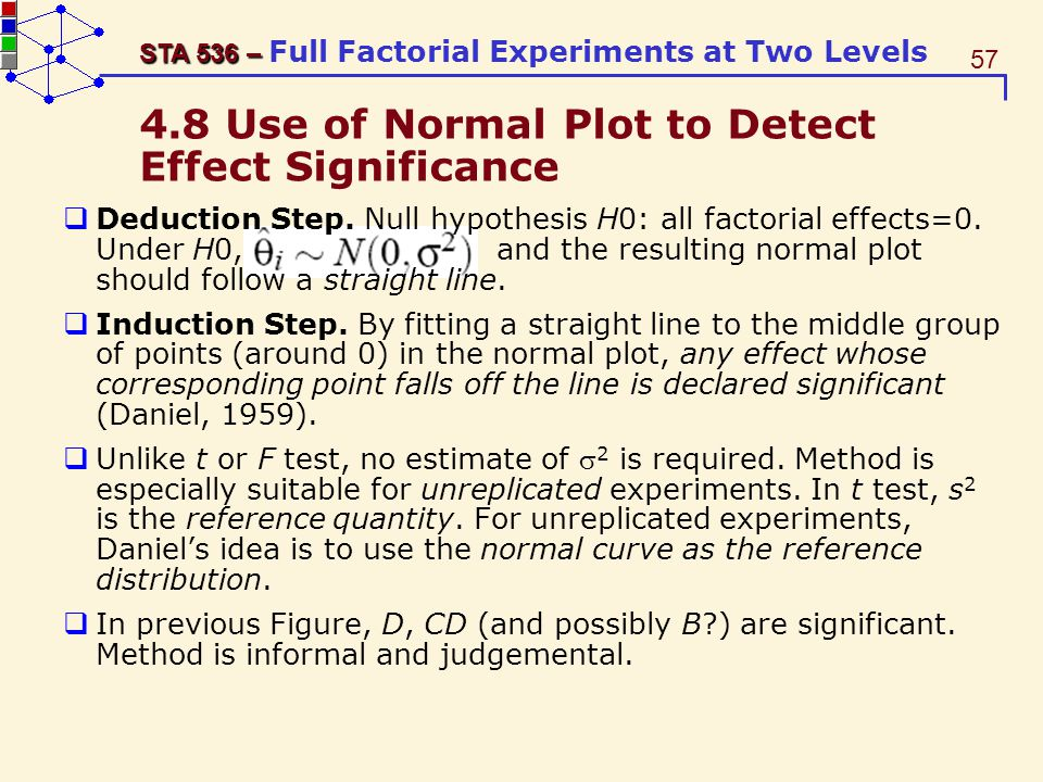 4.8 Use of Normal Plot to Detect Effect Significance