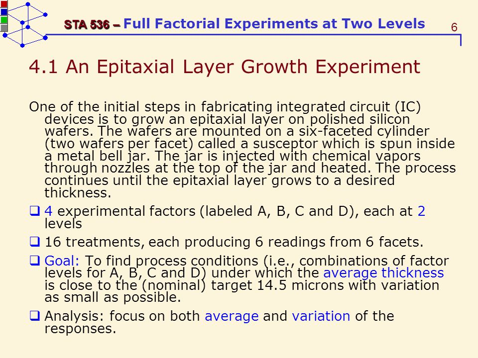 4.1 An Epitaxial Layer Growth Experiment