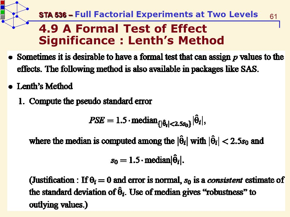 4.9 A Formal Test of Effect Significance : Lenth's Method