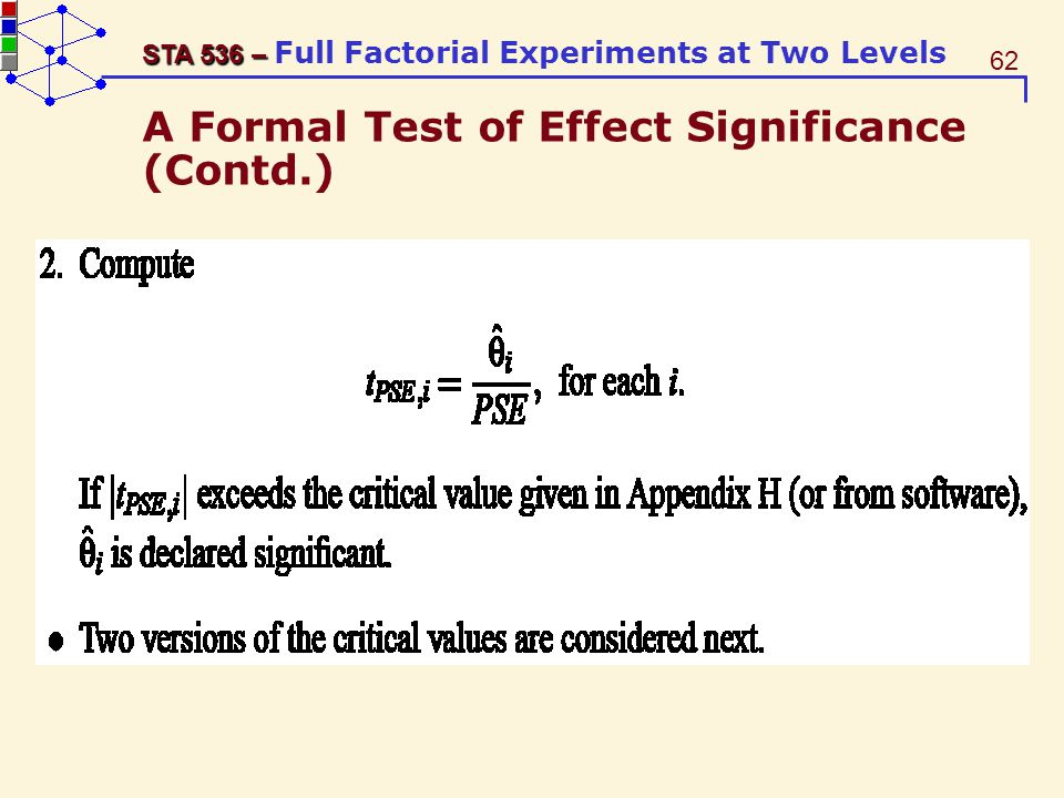 A Formal Test of Effect Significance (Contd.)
