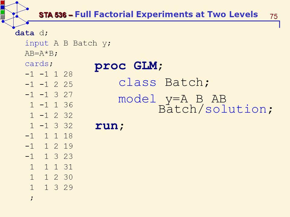 model y=A B AB Batch/solution; run;