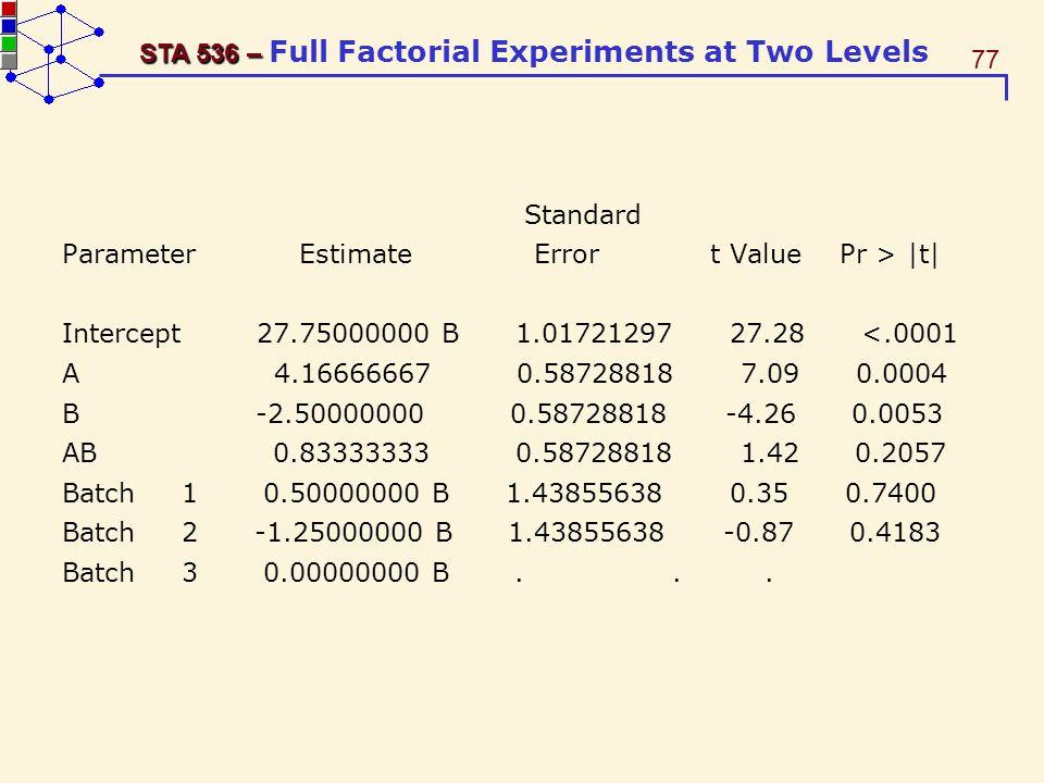 Standard Parameter Estimate Error t Value Pr > |t|