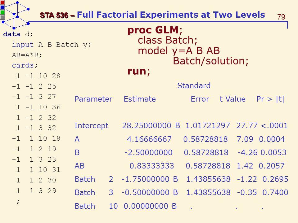 proc GLM; class Batch; model y=A B AB Batch/solution; run;