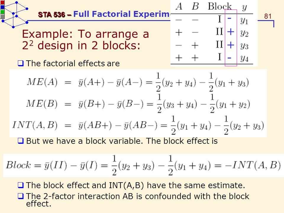 Example: To arrange a 22 design in 2 blocks: