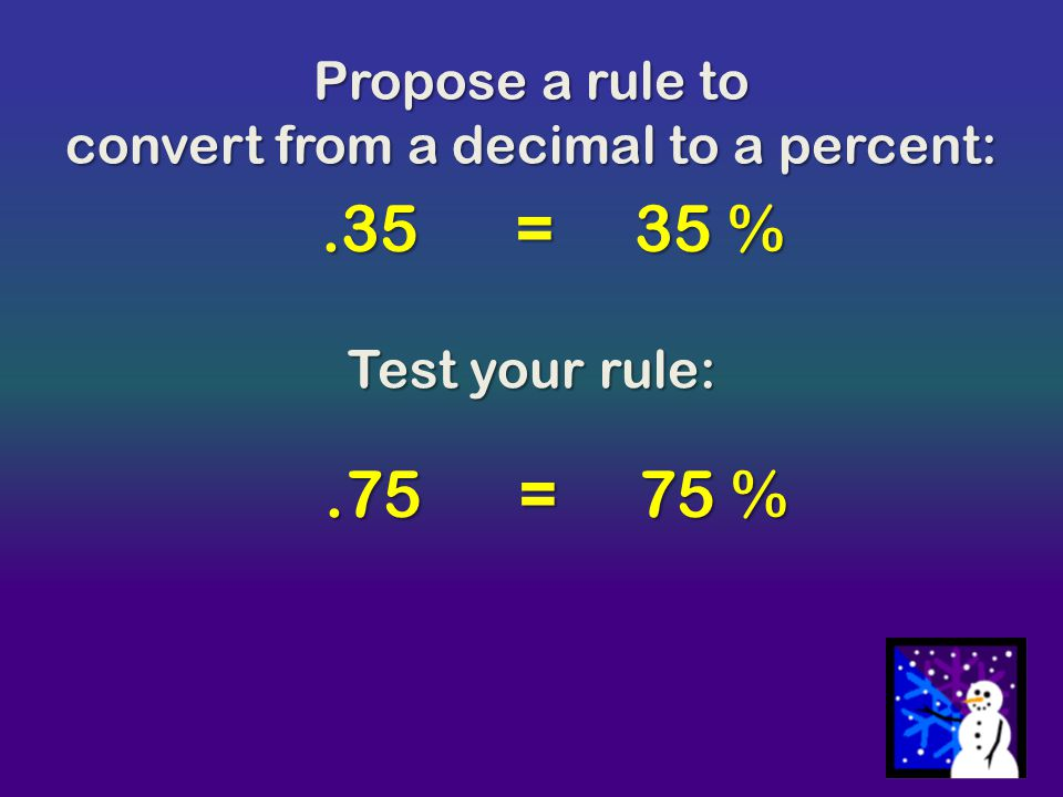 convert from a decimal to a percent: