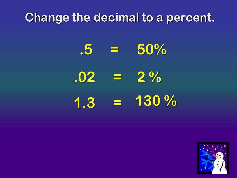 Change the decimal to a percent.