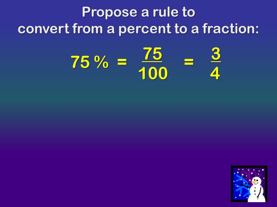convert from a percent to a fraction: