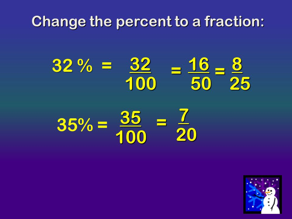 Change the percent to a fraction: