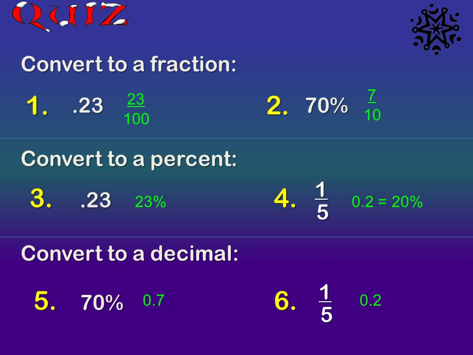 1. 2. 3. 4. 5. 6. Convert to a fraction: .23 70% Convert to a percent:
