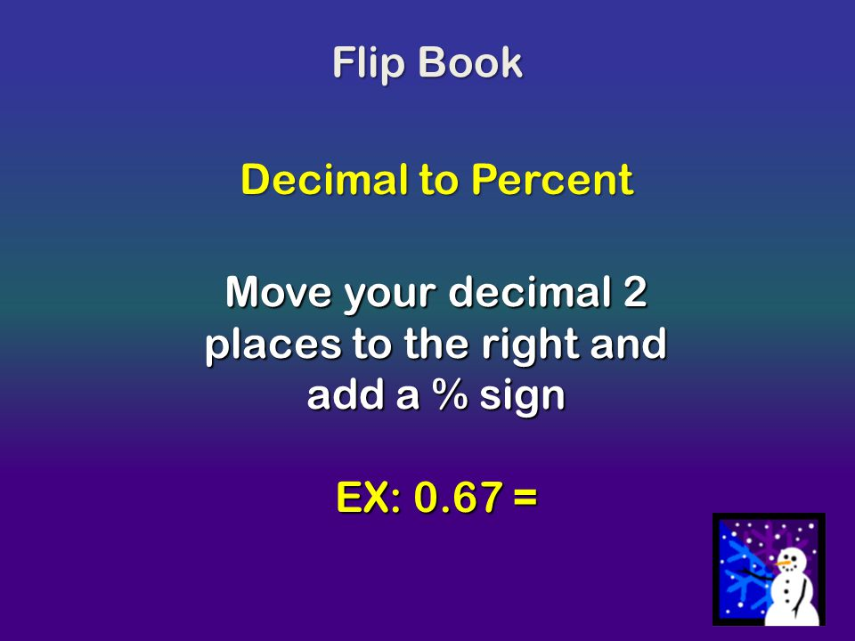 Move your decimal 2 places to the right and add a % sign