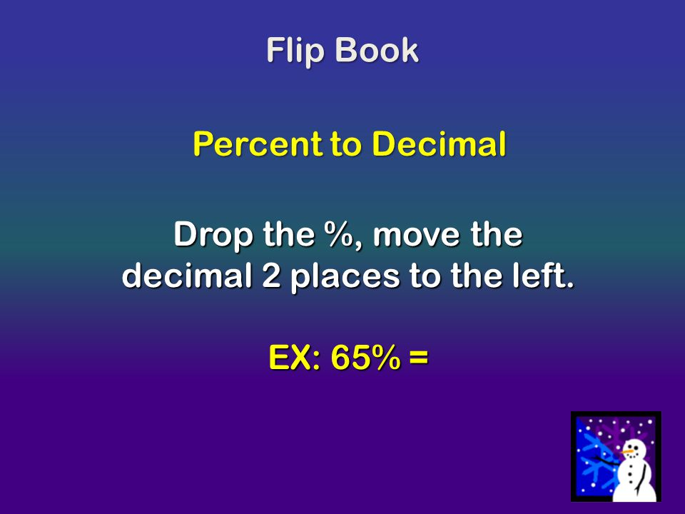 Drop the %, move the decimal 2 places to the left.