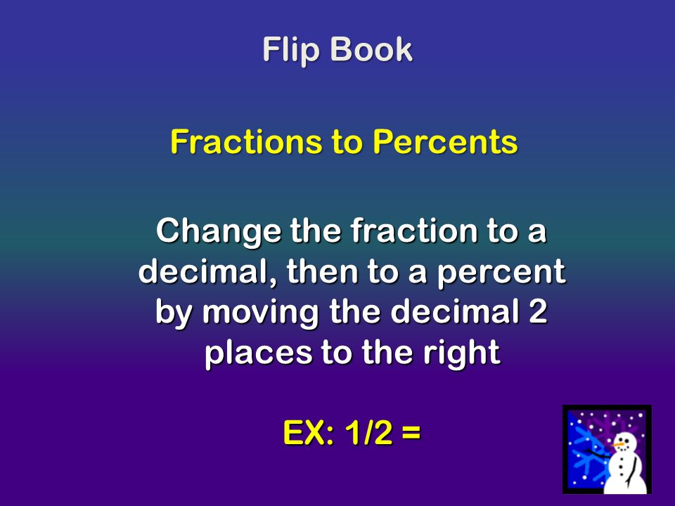 Flip Book Fractions to Percents. Change the fraction to a decimal, then to a percent by moving the decimal 2 places to the right.