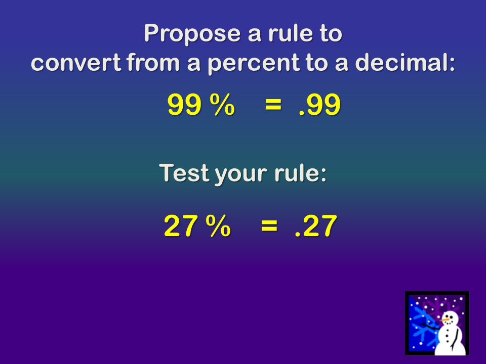 convert from a percent to a decimal: