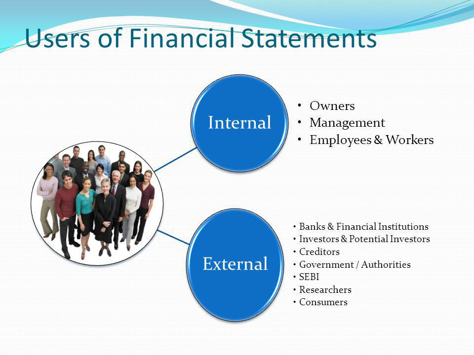 users financial statements Though accounting records and reports a company's transactions, many different parties benefit from this information these individuals --- called financial statement users --- often review the information for decision-making purposes.
