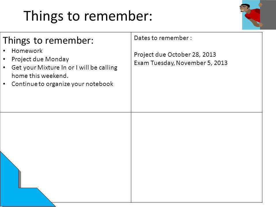 Things to remember: Things to remember: Dates to remember : Homework