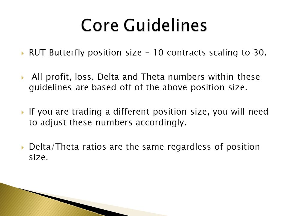 Core Guidelines RUT Butterfly position size - 10 contracts scaling to 30.