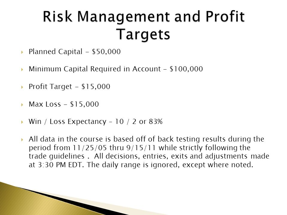 Risk Management and Profit Targets