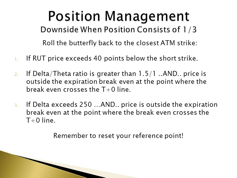 Position Management Downside When Position Consists of 1/3