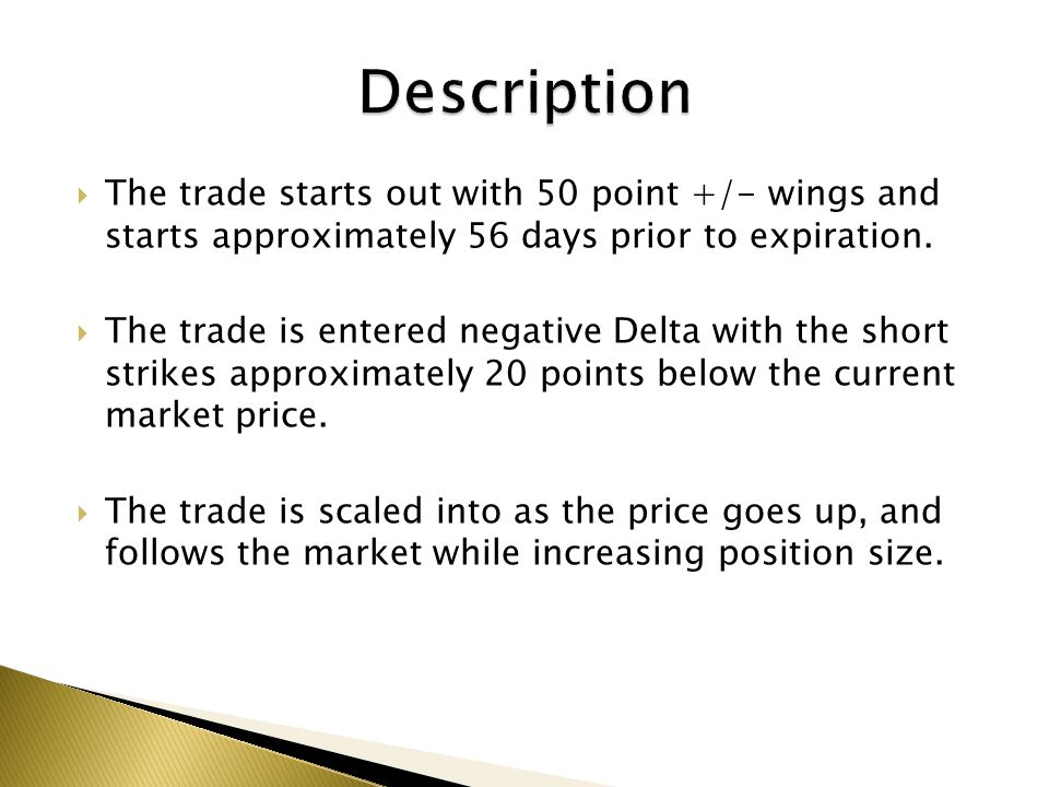 Description The trade starts out with 50 point +/- wings and starts approximately 56 days prior to expiration.