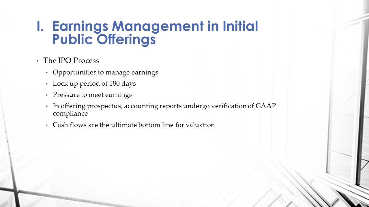 Earnings Management in Initial Public Offerings