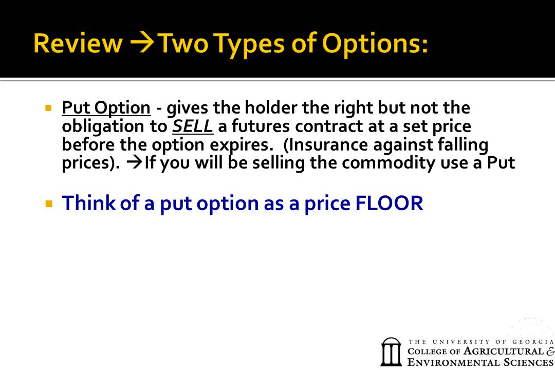 Review Two Types of Options: