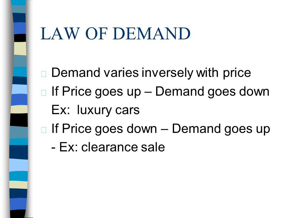 LAW OF DEMAND Demand varies inversely with price